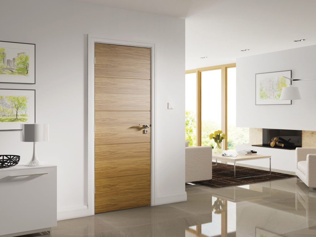 Inspiration oak walnut white primed interior doors for Designer interior doors uk