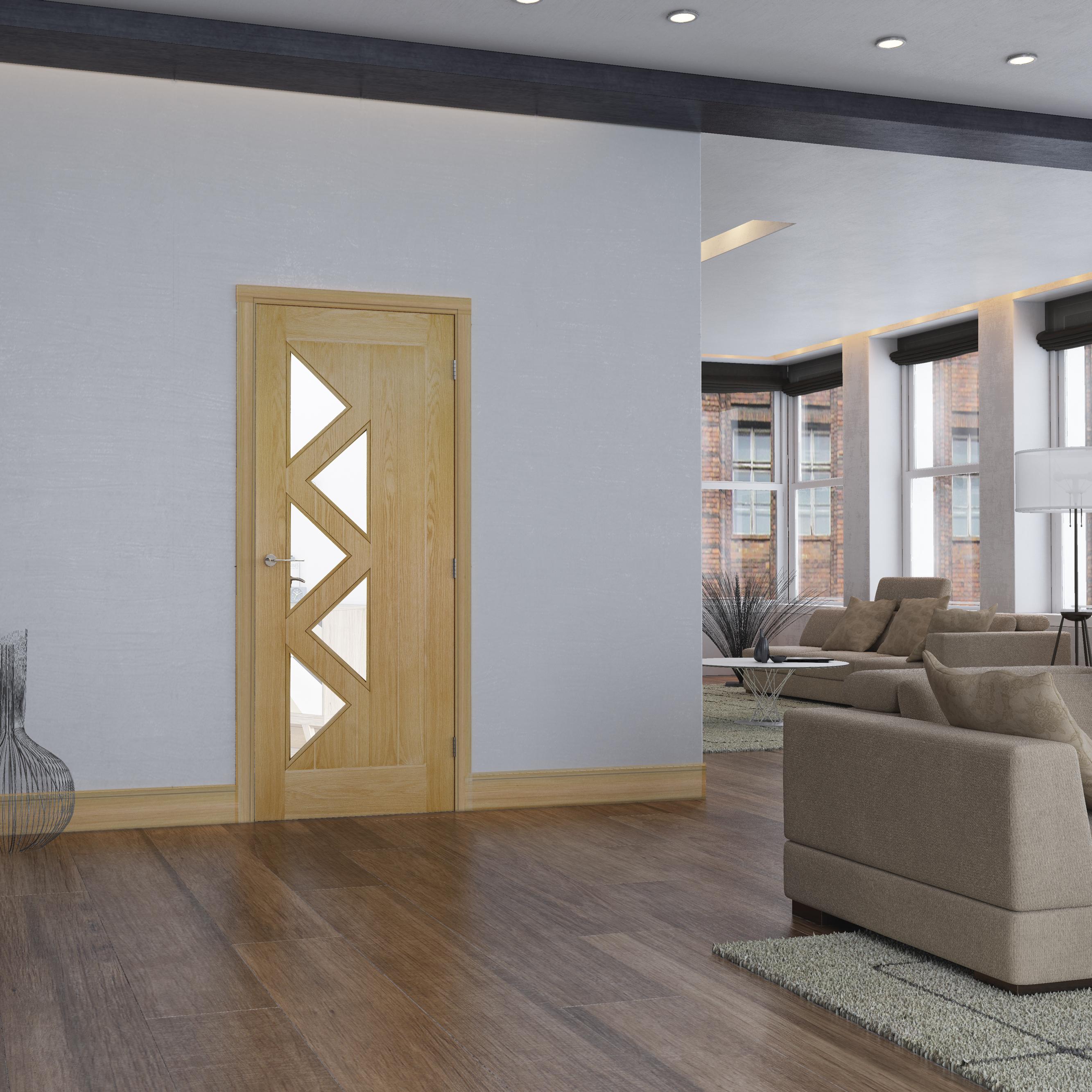 Ely glazed oak interior door