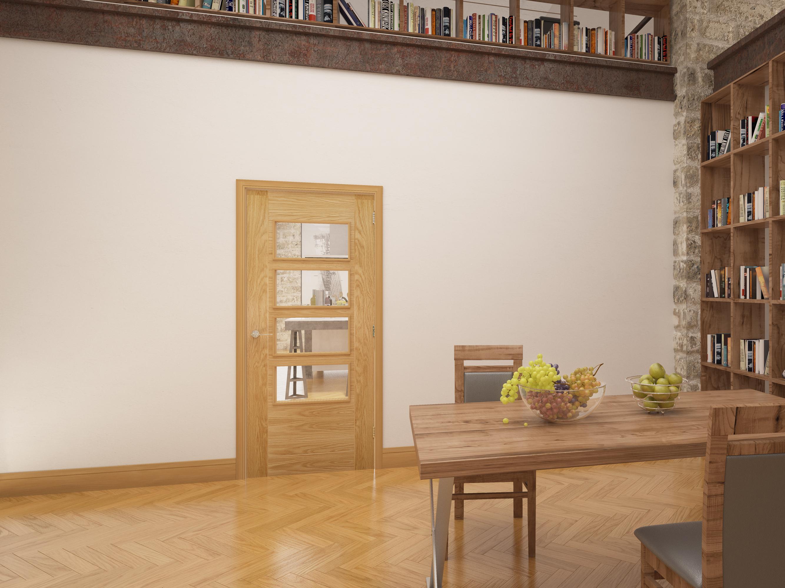 Seville glazed oak interior door