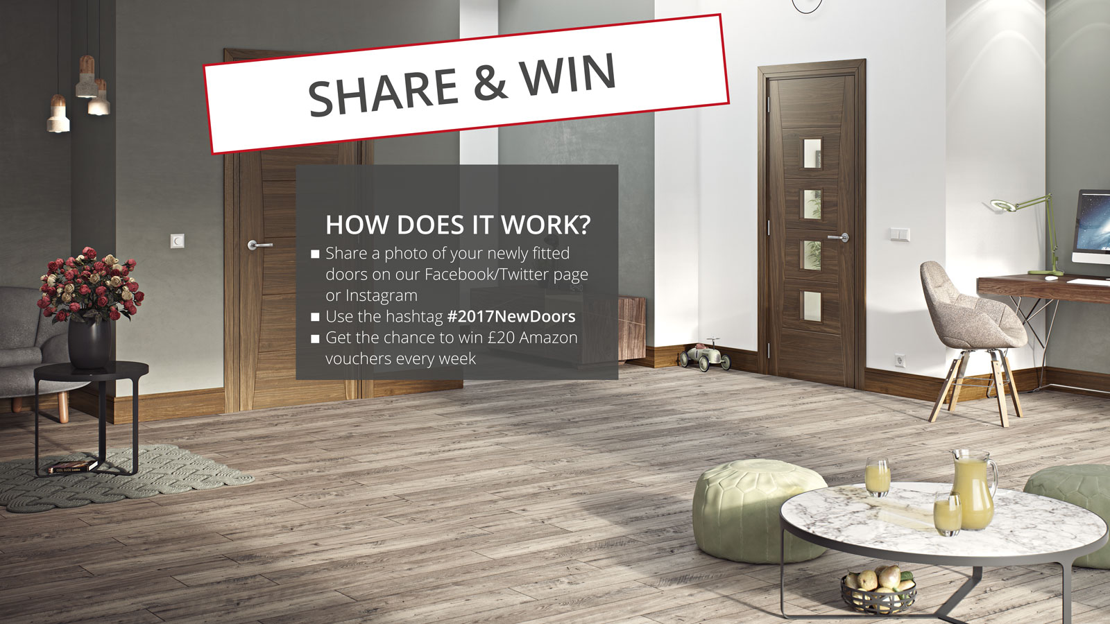 Share & Win with the #2017NewDoors hashtag!
