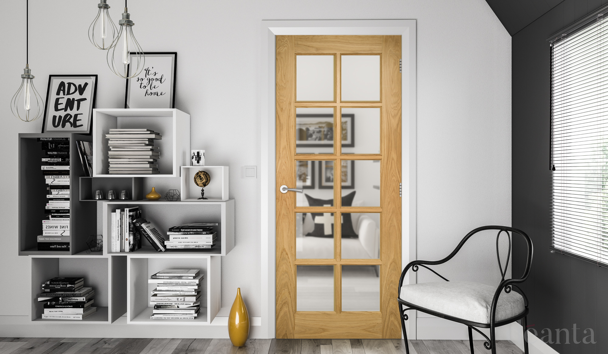 Bristol Glazed Interior Oak Door Deanta