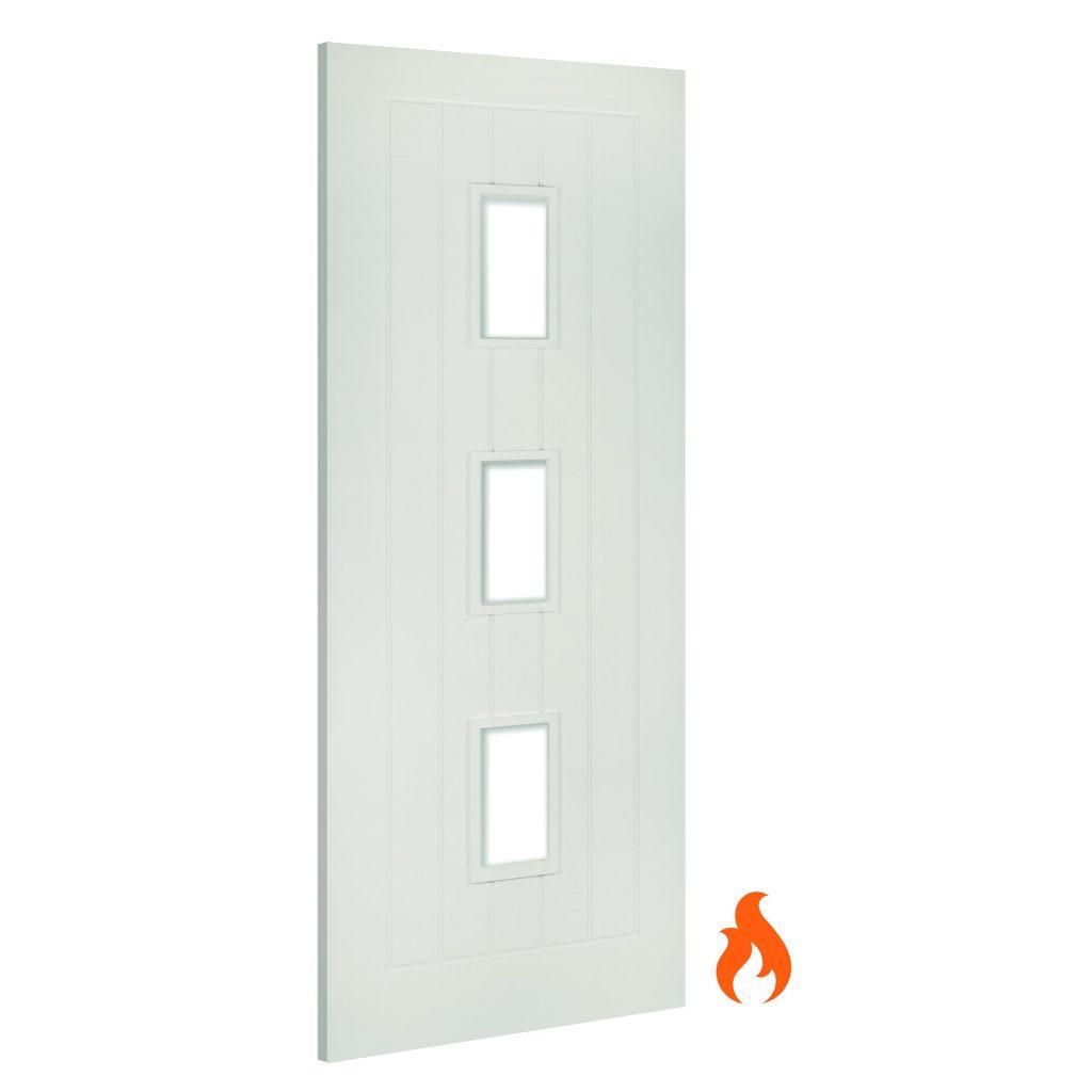 Ely Glazed Interior White Primed Fire Door Deanta