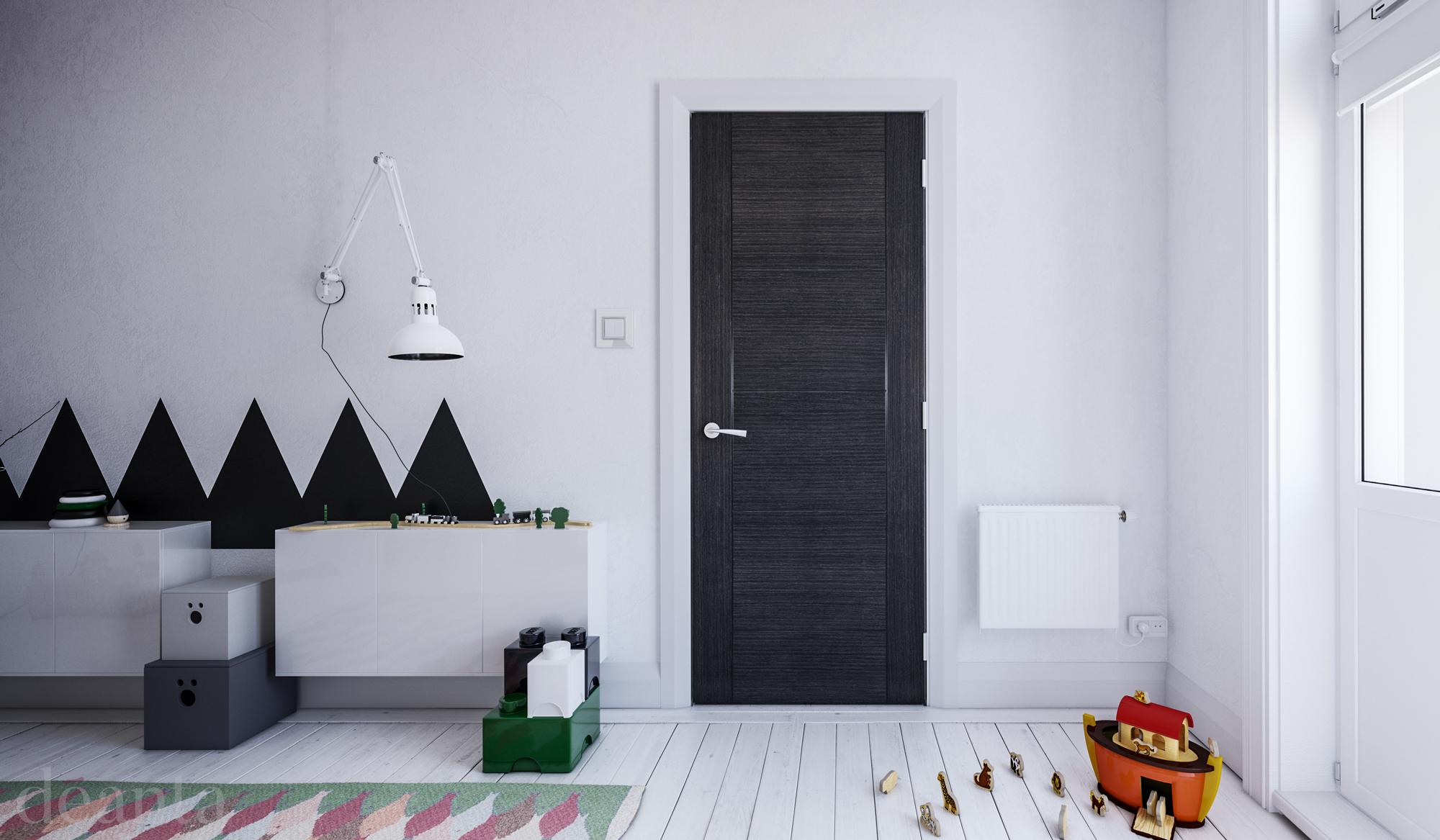 Montreal interior dark grey ash fire door deanta for Idea fire door