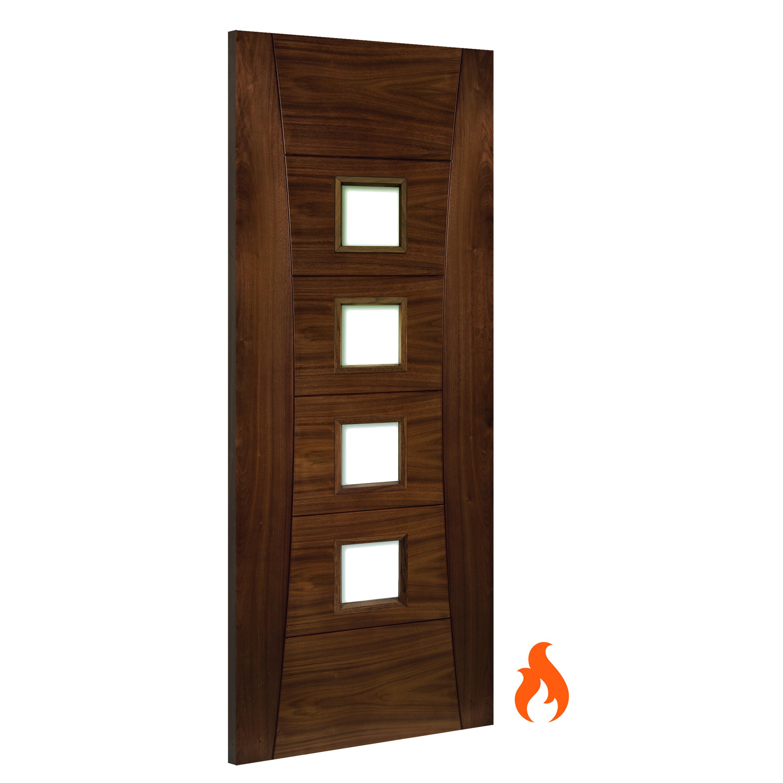 Pamplona Walnut glazed interior fire door