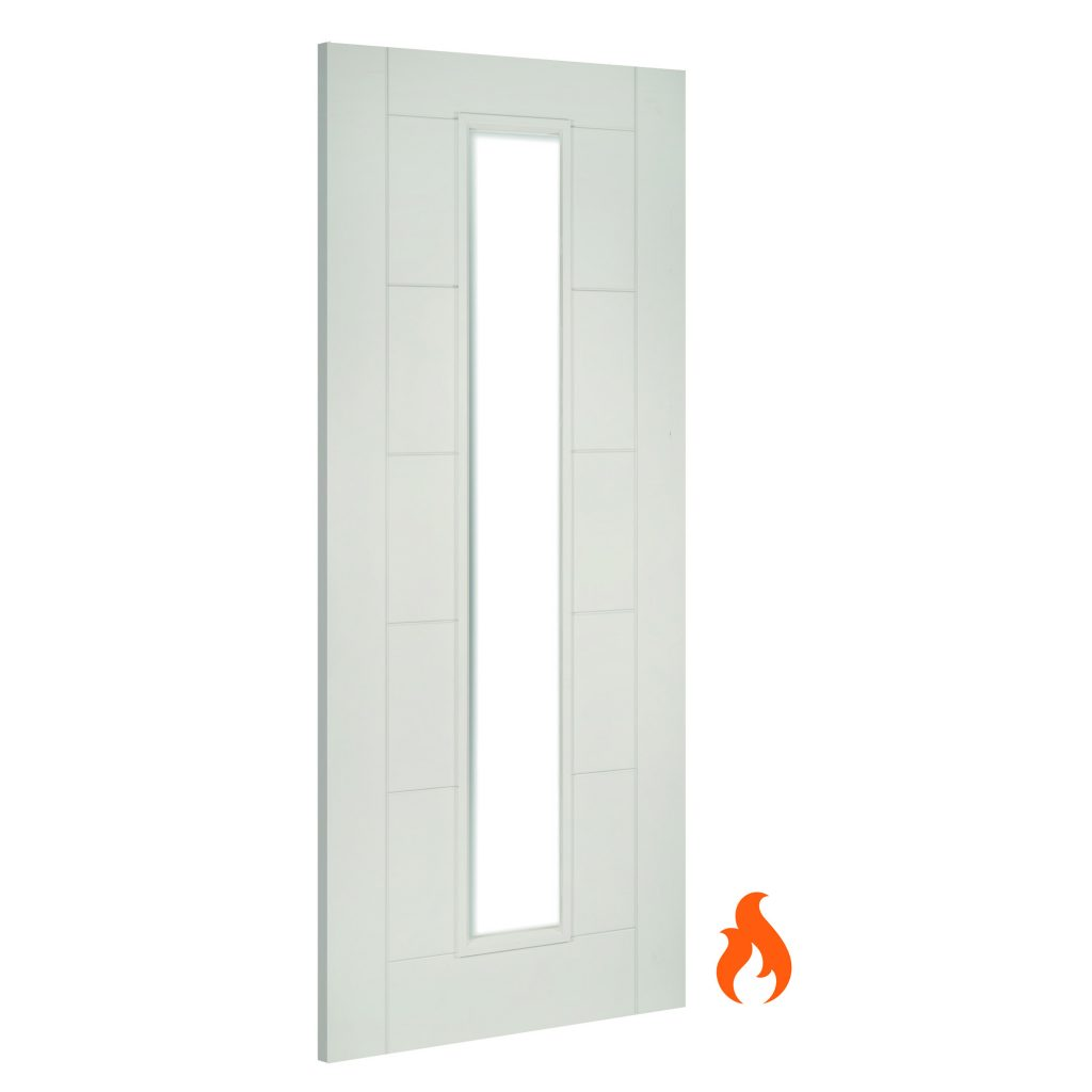 Seville Glazed Interior White Primed Fire Door Deanta