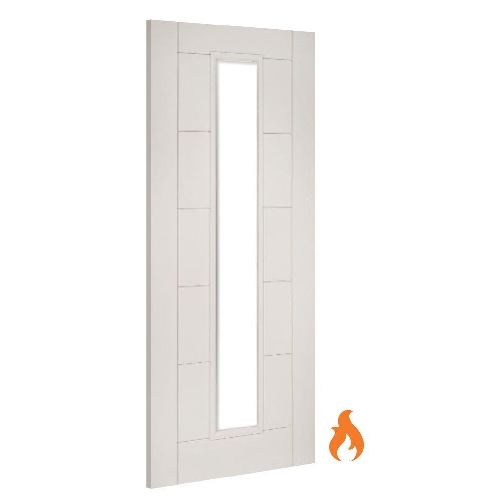Seville Glazed Interior White Primed Fire Door Deanta