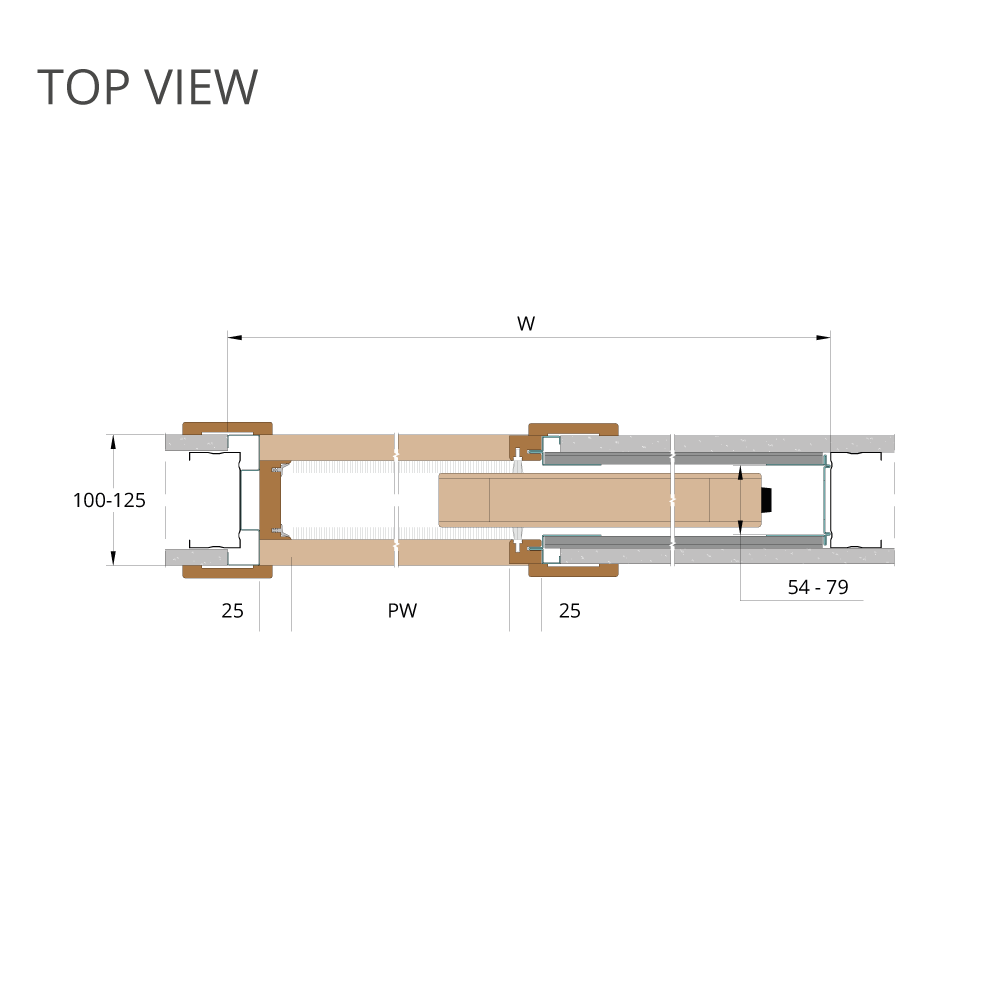 deanta pocket doors TOP-VIEW