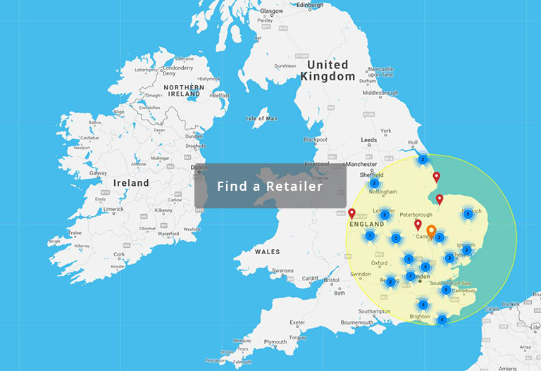Map of Deanta retailers in the UK