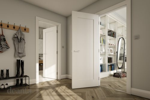 White primed shaker interior door from the Deanta collection