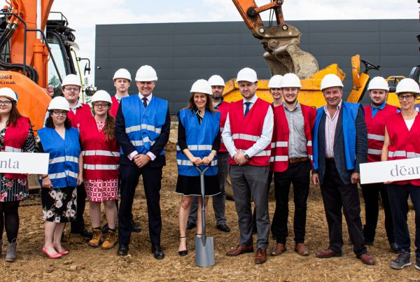 Soil turning ceremony at Deanta for the construction of a new warehouse