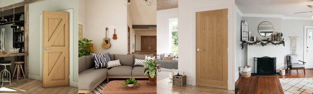4 images combined that show different interior styles of cottagecore