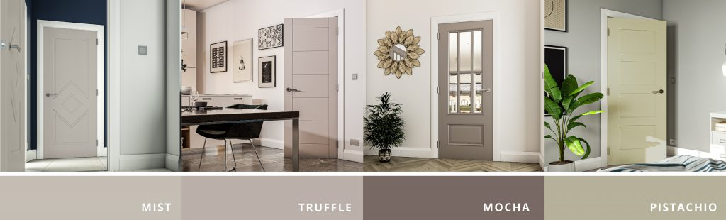 Image showing 4 of Deantas doors finished in the Hue Colours that fit with the interior design trend of Down to Earth
