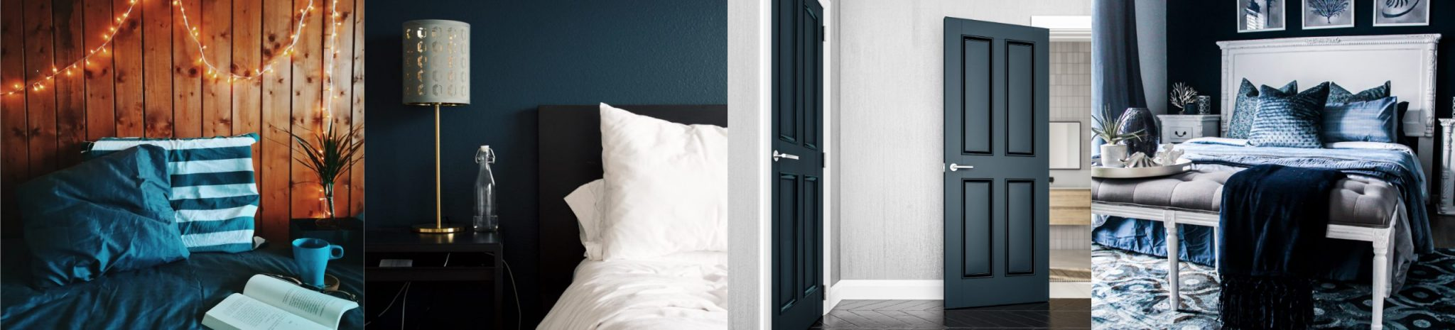 4 Images showing colour trends in the bedroom featuring bold deep colours.