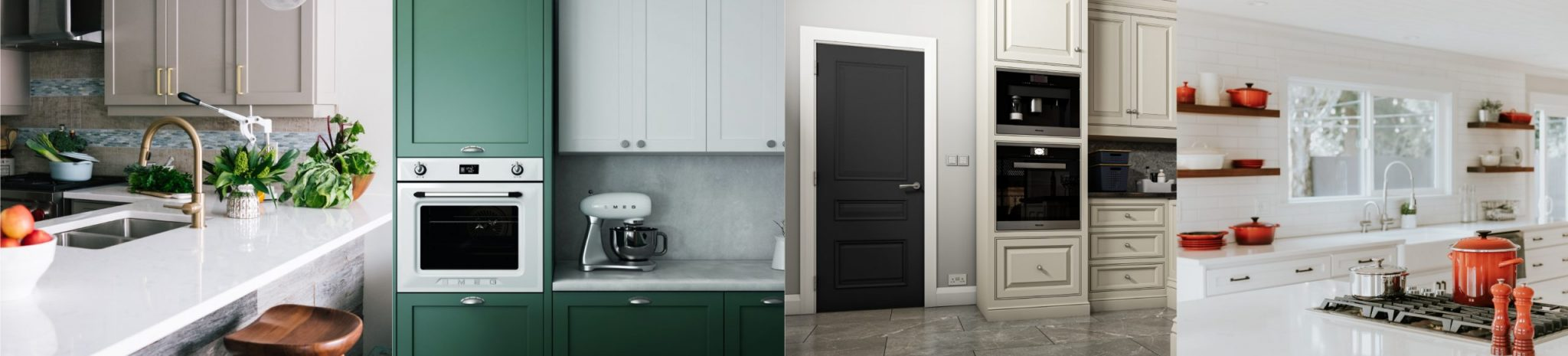 Combination of for Kitchen images showing the current on trend colours to use in the kitchen. It also features our Windsor door in black
